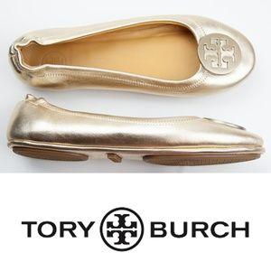 Tory Burch Gold Metallic Minnie Travel Ballet Flat